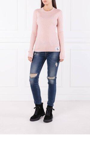 Calvin Klein Jeans Svetr MONOGRAM BADGE RIB | Slim Fit | s příměsí vlny